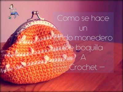 Como se hace un monedero con boquilla a crochet (zurdo)