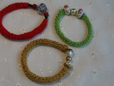 DIY Como hacer una pulsera tejida a crochet.how to make a crochet bracelete