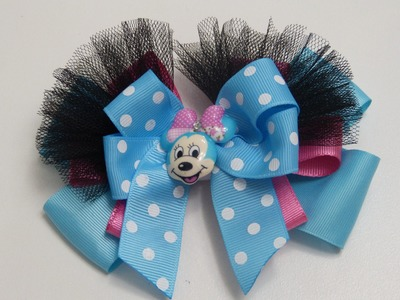 How to Make a Tulle Hair Bow Minnie Mouse, Lazo, moño facil para Niñas