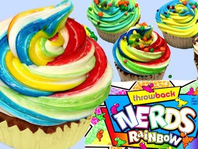 """Cupcakes de """"caca"""" de unicornio o Rainbow cupcakes, con Nerds"""