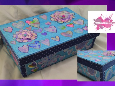 DIY. Caja de zapatos decorada. . Decorated shoebox