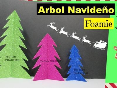 Como hacer árbol de Navidad con foamy (goma eva) DIY Manualidades navideñas