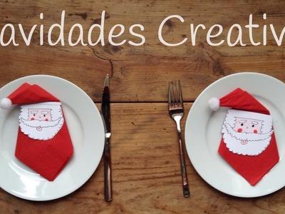 Servilletero navideño de Papa Noel | Manualidades de Navidad para niños