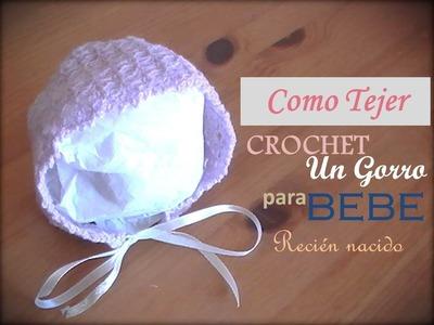 Como tejer a crochet un gorro para bebe, tamaño recién nacido (diestro)