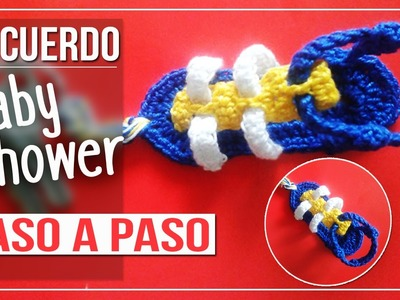 LLavero Sandalia- Tejido a Crochet Paso a paso Recuerdo para Bautizo o baby shower