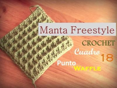 Manta a crochet FreeStyle cuadro 18: punto waffle (diestro)