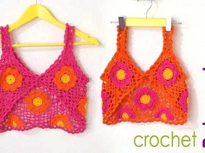Bolero modelo tank top tejido a crochet con 9 grannies o cuadrados para niñas y adolescentes!