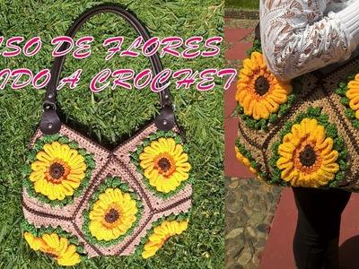 Bolso de Flores tejido a crochet o gancho paso a paso