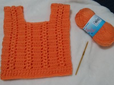 Chaleco para niña a crochet (1 año)