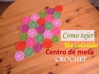 Como tejer un colorido centro de mesa a crochet (diestro)