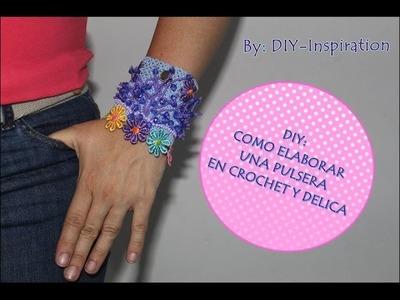 DIY PULSERA EN CROCHET Y MOSTACILLA CHECA