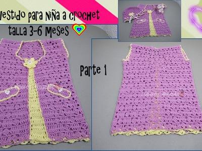 PARTE 1 DE 2: VESTIDO PARA NIÑA A CROCHET TALLA 3-6 MESES