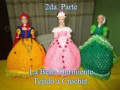 VESTIDO DE BELLA DURMIENTE PARA MUÑECA A CROCHET - 2DA. PARTE