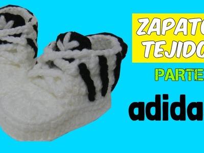 Zapatitos adidas tejidos a crochet 3-6 meses    parte 1.2