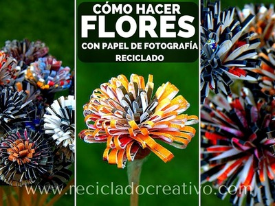 Cómo hacer flores con papel reciclado de fotografías - How to make flowers out of photo paper