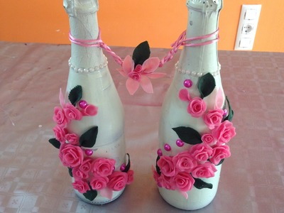 Decoración botellas con rosas de porcelana fría Bottles with roses cold porcelain