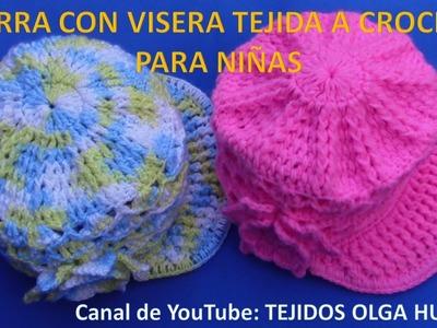 Gorra con Visera para niñas tejida a crochet