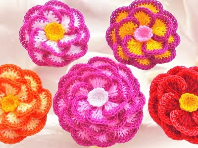 Como hacer flores fáciles y bonitas - Make Knitting beautiful easy flowers to give