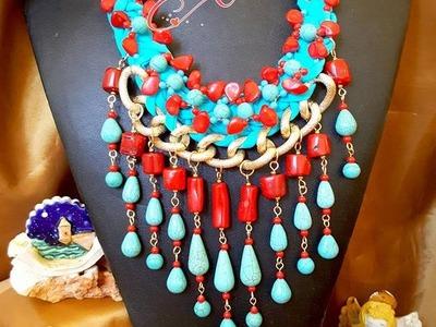 Maxi Collar Trapillo Corales y Turquesas Corales DIY