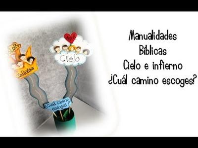 Manualidades Bíblicas. Fomi y botella de plástico reciclada. Tema: cielo e infierno
