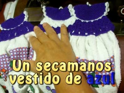 Un secamanos vestido de azul |Creaciones y manualidades angeles