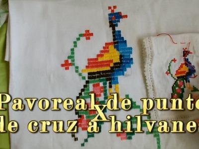 Pavoreal de punto de cruz a hilvanes |Creaciones y manualidades angeles