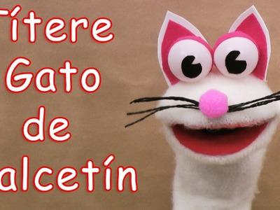 Títere gato de calcetín - Manualidades para todos - Cat sock puppet