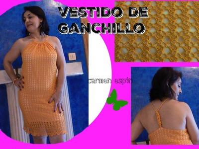 VESTIDO DE GANCHILLO CON ESCOTE HALTER:DIY