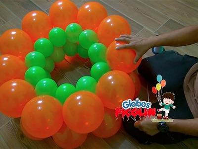 Como hacer guirnalda alternada con globos 2 medidas # 37