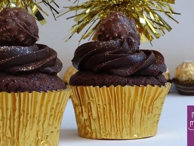 Cupcakes de Ferrero Rocher con chocolate y avellanas