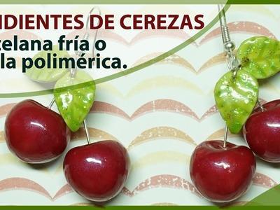 PENDIENTES O ARETES DE CEREZAS. PORCELANA FRÍA O ARCILLA POLIMERICA. Tutorial frutas. Pin up.
