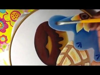 Pintura en tela canasto de pan # 5 con cony