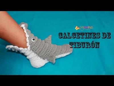 Calcetines tiburon . Crochelines. Tejido a ganchillo. Mi versión.