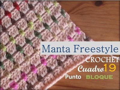Manta a crochet FreeStyle cuadro 19: punto bloque (zurdo)