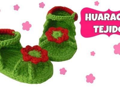 Sandalia o Huarache tejido para niña con flor