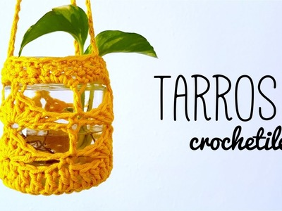 TARROS DE VIDRIO decorados con crochet (ENGLISH SUB) | tutorial paso a paso AHUYAMA CROCHET