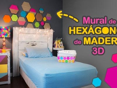 "DIY: Mural de HEXÁGONOS de ""madera"" 3D"