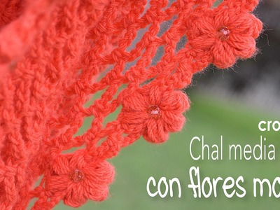 Chal media luna con flores mollie a crochet - Mollie flower crescent moon shawl (English subtitles)!