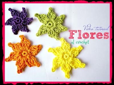 Cómo hacer flores de seis pétalos al crochet