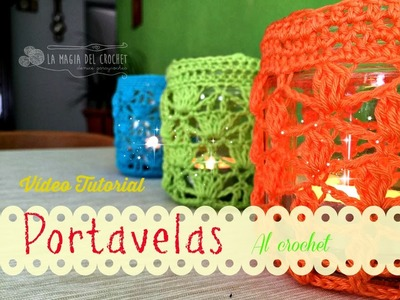 Cómo hacer un Portavelas colorido al crochet