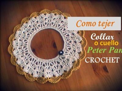Como tejer el collar o cuello Peter Pan a crochet (diestro)
