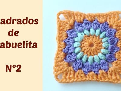 Cuadrados de la abuelita a crochet o ganchillo con flor en el centro N2