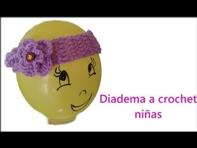 Como hacer Diadema a Crochet para Niñas de 0-3 meses*
