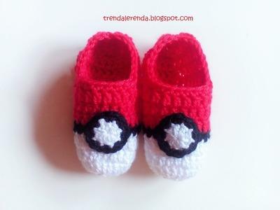 Cómo tejer unos patucos de crochet Pokeball Pokemon Go. Slipers de ganchillo. Escarpines. Tutorial
