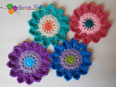 Flores japonesas a crochet - How to crochet Japanese Flowers ENGLISH SUB