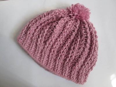 Gorro con PomPom a Crochet MUY FÁCIL