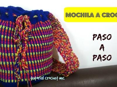 Tutorial mochila tejida a Crochet - punto musgo