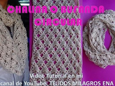 Bufanda o Chalina Circular tejida a crochet fácil y rápido