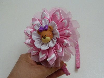 Como hacer Faciles Flores  kanzashi en tela para diademas, Headband Tutorial, #511
