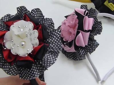 Diy ribbon bow, Hair Bow Tutorial , Arco con flores Acrílicas, Pap Moños cinta
